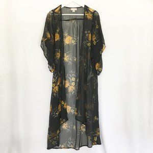 Band of Gypsies Open Kimono Duster Gold Flowers